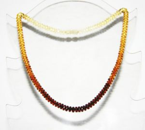 Hand made Baltic amber necklace, diss beads. Length 45cm (17.72 inch)